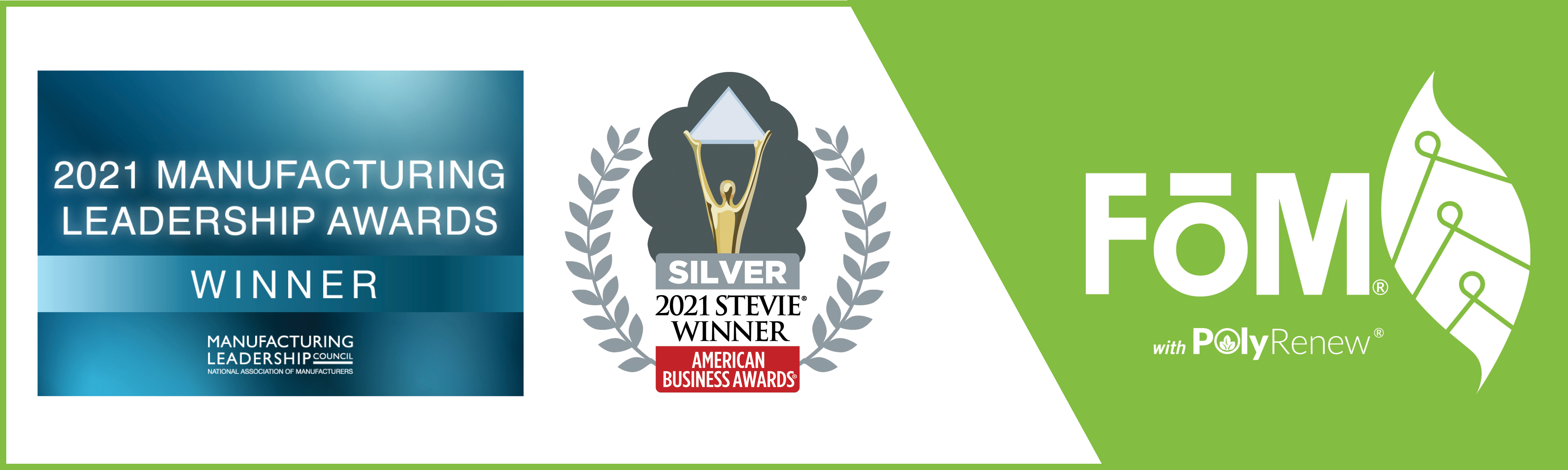 National Association of Manufacturers and Stevie Award logos with FōM logo